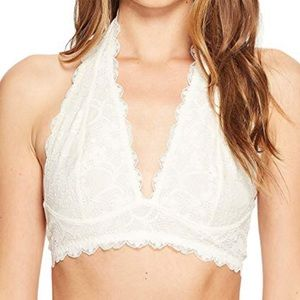 Free People Galoon Halter Bra White NWT